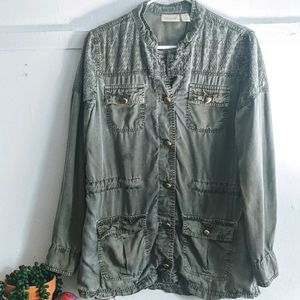Chico's Olive Green Embroidered Cargo Army Jacket